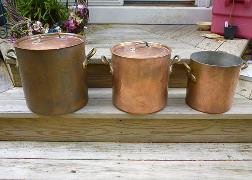 Huge Vintage French Hammered Copper Stockpot - 26 1/2 qts.